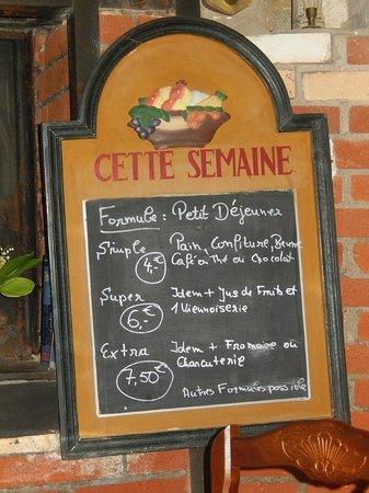 """Boulangerie-Patisserie Robic  - Salon de the Tamm'Bara : Salon de thé """"Tamm'Bara - Erdeven - Menu du petit déj'"""