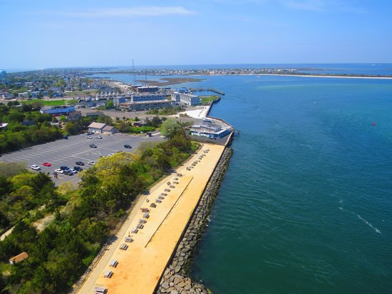 Barnegat Lighthouse State Park: View of park entry from observation deck of lighthouse.