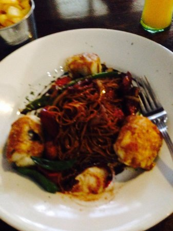 The Vines: Monk fish and noodles ( no curry marinade)
