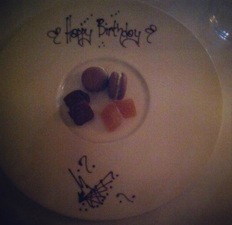 The Pompadour by Galvin: Happy Birthday Plate