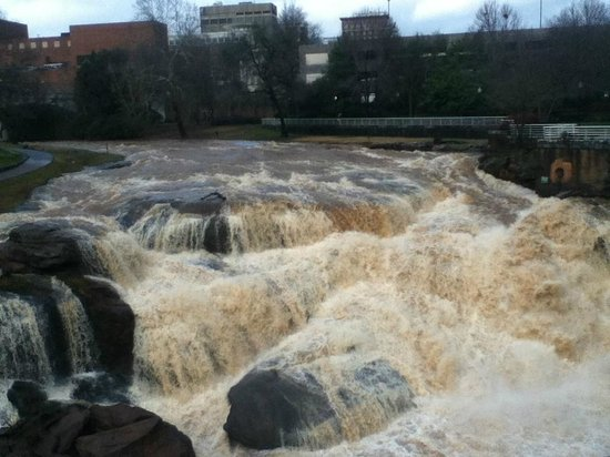 Falls Park on the Reedy : River after storm