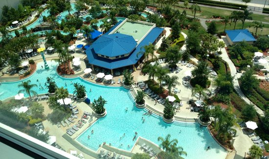 Hilton Orlando: Birds eye view (from hotel room) of the pool facilities