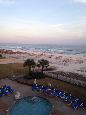 Hampton Inn Pensacola Beach: View of one of the pools & beach, from our room