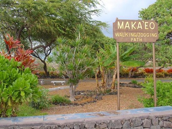 Old Kona Airport State Recreation Area: Makeo jogging trail is filled with unique tropical gardens