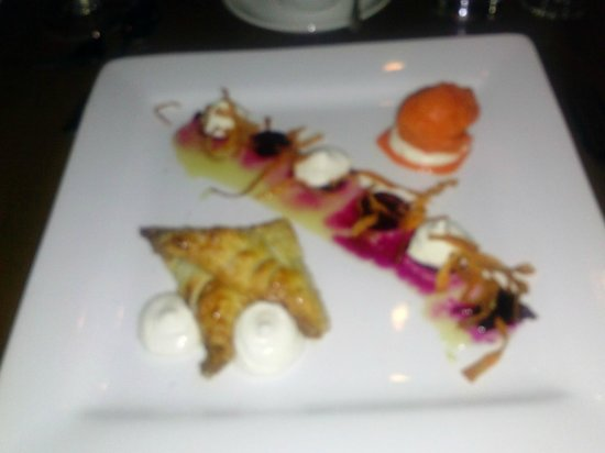 Beast and Bottle: Sorry for the blur! black walnut turnover with goat cheese mousse, rooftop honey and carrot-oran