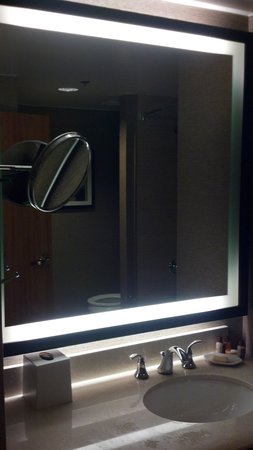 Sheraton Dallas Hotel : Bathroom mirror with poor lighting