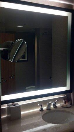 Sheraton Dallas Hotel: Bathroom mirror with poor lighting
