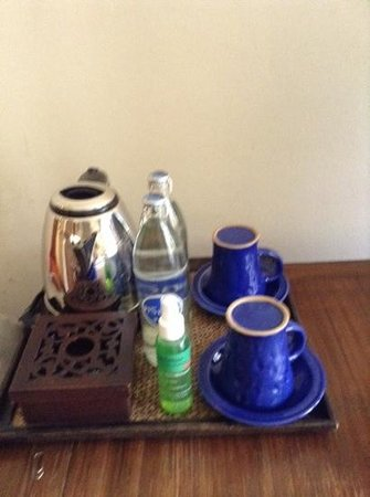 Ariyasomvilla: tea set, complementary water, and mosquito repellent spray