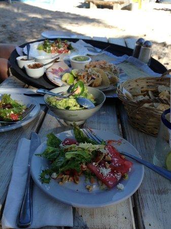 BeTulum Restaurant and Lounge : Fantastic Fish Tacos, Guacamole, Watermelon Salad