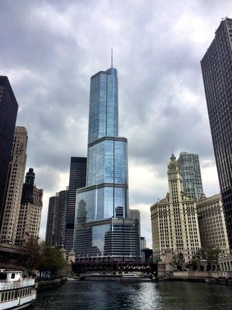 view of the trump tower from architecture river cruise - picture