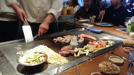 the master working the teppan grill picture of ooka japanese