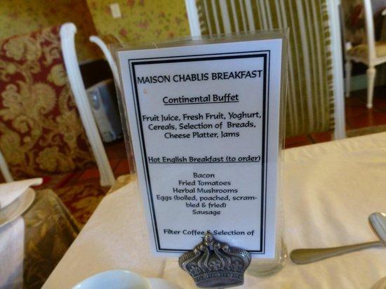 Maison Chablis Guest House : Hot breakfast