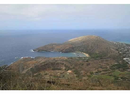 Koko Crater Trail: view of Diamond head from atop Koko Crater
