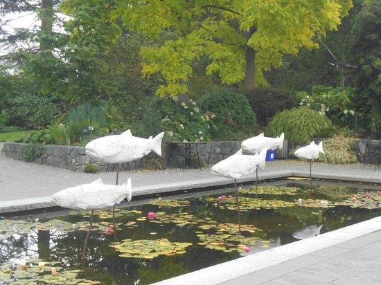 VanDusen Botanical Garden: artwork by the pond