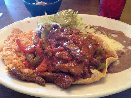 El Charro Cafe : Beef fajitas were a bright spot in our experience.