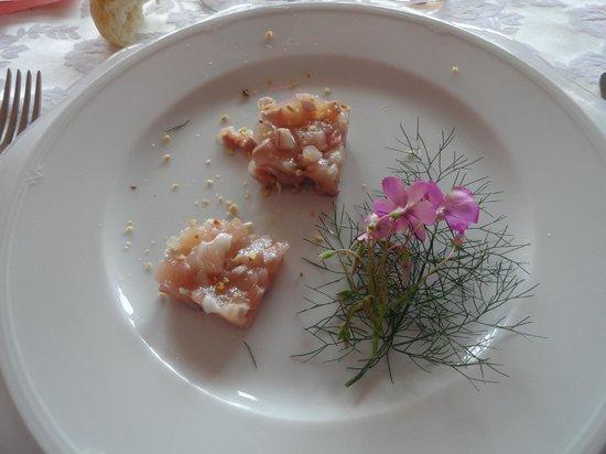 Trattoria Barba Toni: tartare di trota fario con olio di nocciole