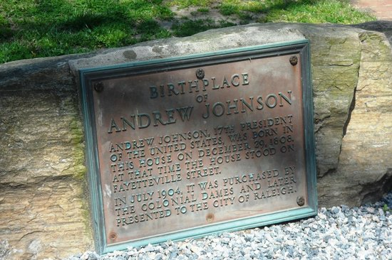 Mordecai Historic Park: Andrew Johnson house marker