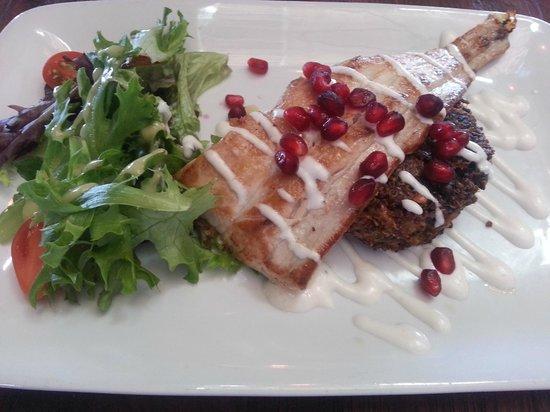 Jake's Del Mar: Pan-seared mahi with cashew quinoa cake and salad--delish!