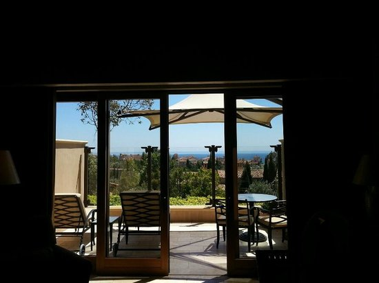 The Resort at Pelican Hill: view of deck from inside room