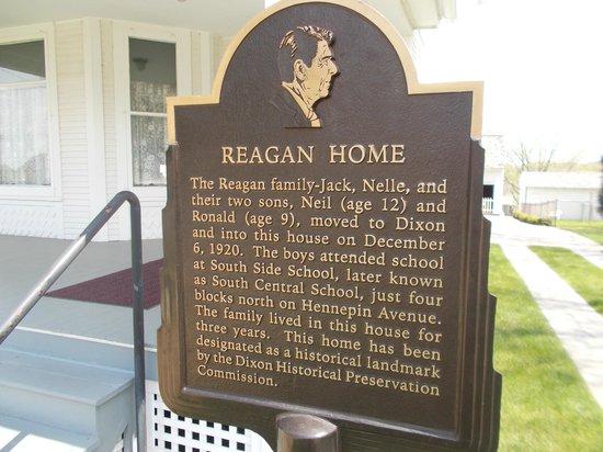 Ronald Reagan Boyhood Home: Sign outside the home