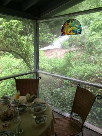Historic Sylvan Falls Mill Bed and Breakfast: Waterfall at breakfast and, of course, the scones!