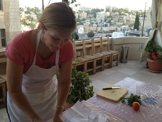 Home Cooking and Dining Experience Tour at Beit Sitti House: A lovely patio to cook on with a beautiful view of Amman