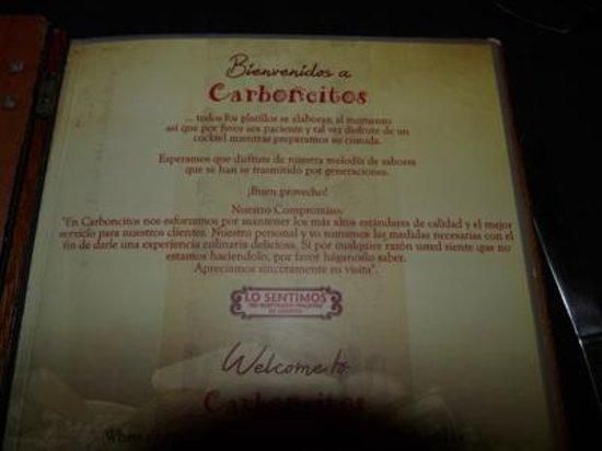 Carboncitos: menu