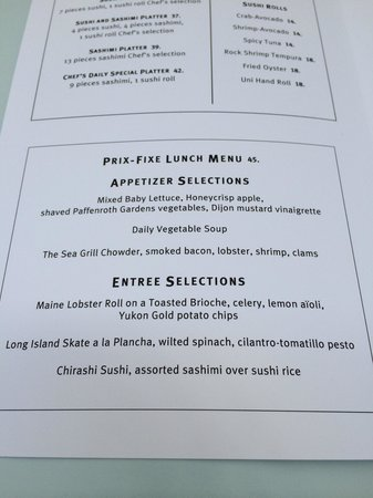 The Sea Grill : Lunch menu