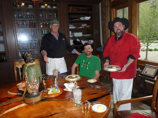 Kessler Canyon, Autograph Collection : Sous chef Paul, my guide John Andrews, and Chef Lenny at the Chef's table.
