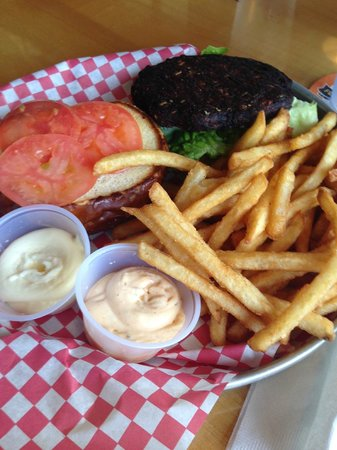 Kelly's Tap House Bar & Grill: black bean burger and fries