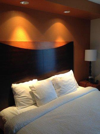 Fairfield Inn & Suites Charlotte Matthews : Comfortable bed, adjustable lighting, nice room.