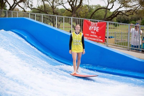 Hyatt Regency Hill Country Resort and Spa: Pro flowboarder Xana Nash at the Hill Country flowrider! #hypesurfco