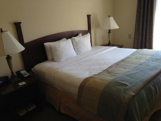 Staybridge Suites Charlotte Ballantyne: Comfortable bed and a true suite with bedroom doors.