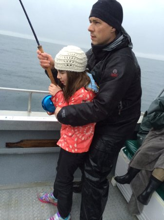 """Vicious Fish Charters: niece reeling the """"big"""" fish in"""