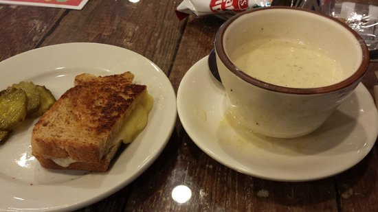 Broom's Bloom Dairy : Homemade cheese grilled cheese sandwich and cream of crab soup
