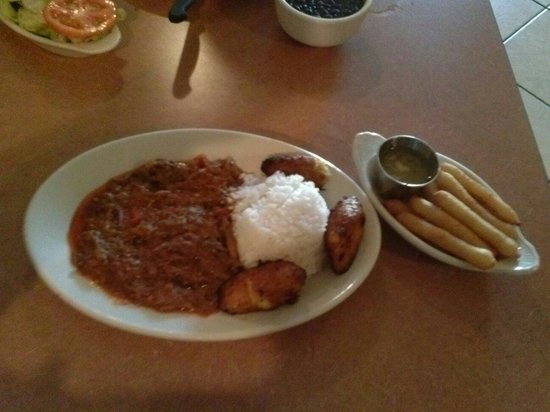 Cuban Diner: Ropa Vieja with fried yuca