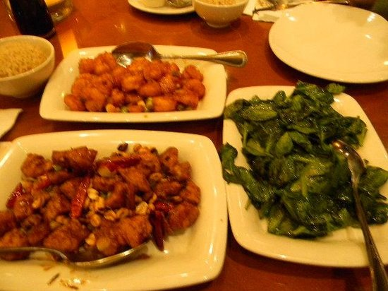 P.F. Chang's: crispy shrimp, kung pao chicken, spinach