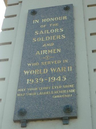 Arch of Victory: WWII plaque on side of Victory Arch, Ballarat