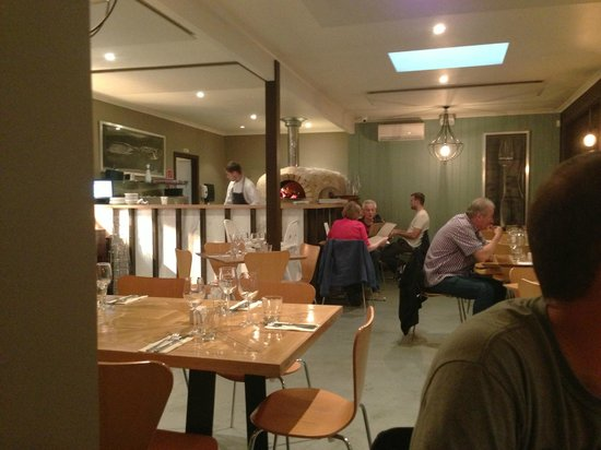 Fig & Olive: View to the pizza oven and restaurant.