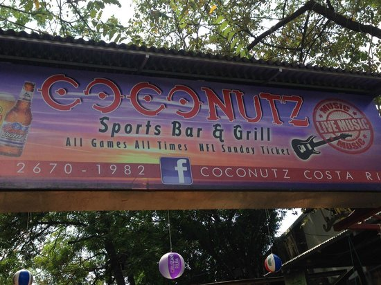 Coconutz Sports Bar & Angry Goats Brew House: Outdoor signage, Coconutz Sports Bar & Eatery  |  Main St, Playas del Coco 5019, Costa Rica