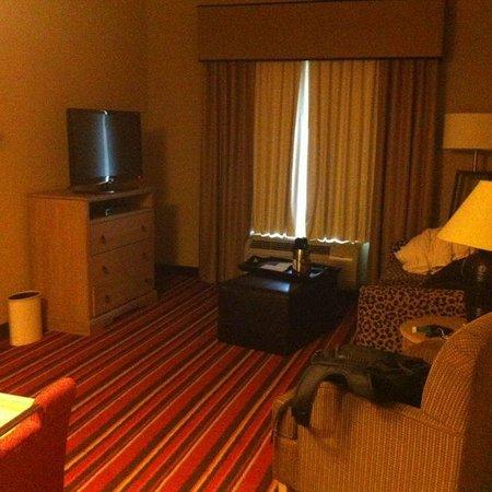 Homewood Suites by Hilton Austin / Round Rock: Sala com TV, sofá, poltrona e AR