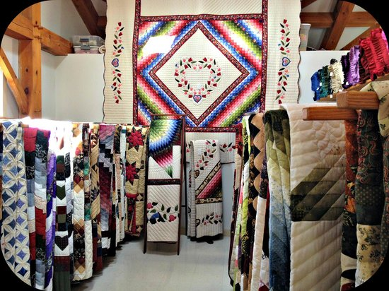 Riehl's Quilts and Crafts: This is part of the quilt room where there are dozens and dozens of beautifully handmade quilts.