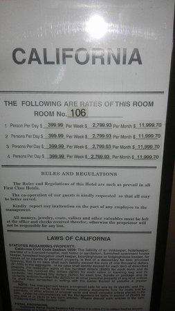 Travelodge la Mesa CA: Rack rate on the inside of the door is crazy silly...no one pays 400 a night.