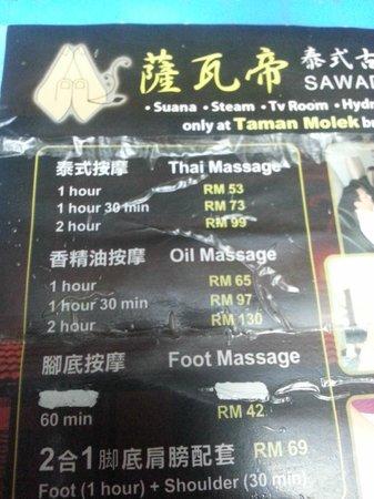 KSL Hotel & Resort: Sawadee massage price menu