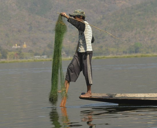 Inle Lake: The one leg rover fisherman with net