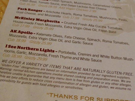 Prospectors Pizzeria & Alehouse: menu