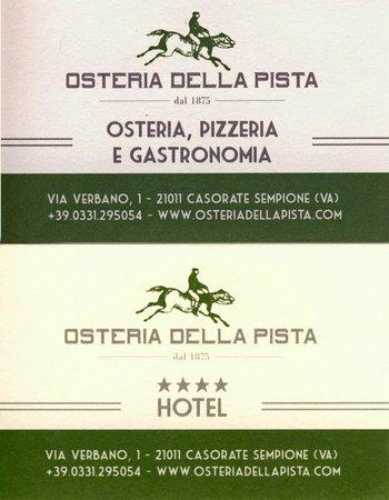 Hotel Osteria della Pista dal 1875: carte