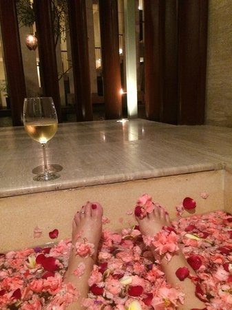 Anantara Seminyak Bali Resort: outside spa full of rose petals looking out to our private pool