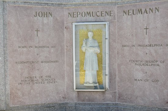 Cathedral Basilica of Saints Peter and Paul : Memorial to St John Neumann, outdoors and near the front entrance
