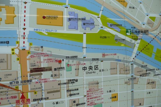Osaka City Central Hall: The map shows you the location of subway, park, river and buildings